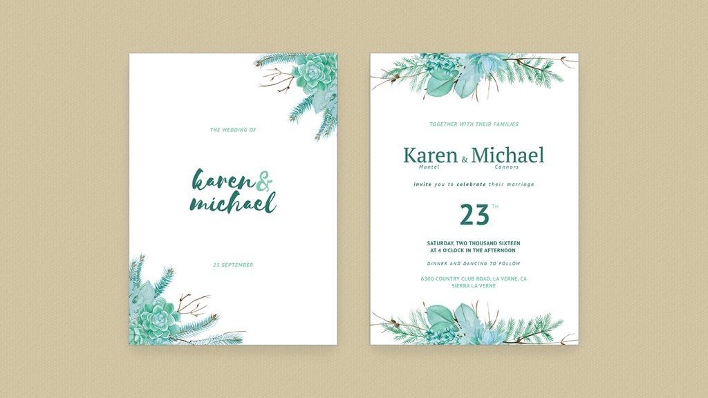 Wedding Invitation Succulent Plants